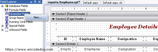 Passing parameter to Crystal Report in Asp Net - C# and Vb Net