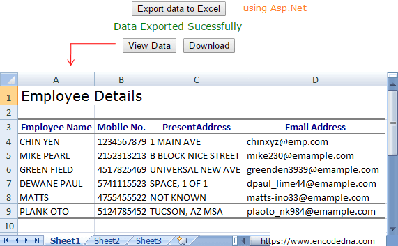 Export Data to Excel in Asp.Net C# and Vb.Net: All Excel versions