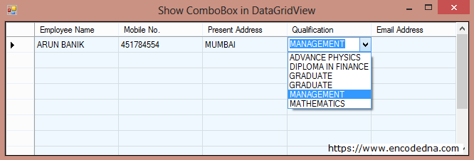 Bind and Show a ComboBox in a DataGridView Cell using