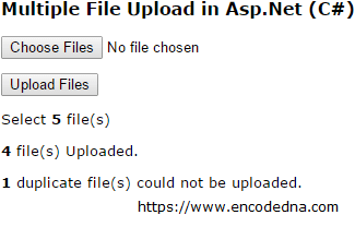 Multiple File Upload in Asp Net - C# and Vb Net