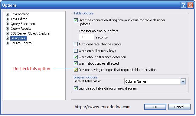 SQL Server Options