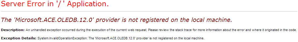'Microsoft.ACE.OLEDB.12.0' provider is not registered on the local machine