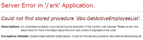Sample of a Generic Error