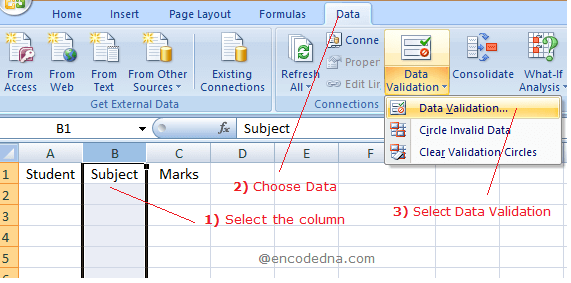 Create Data Validation in excel