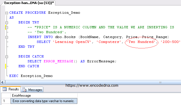 Exception Handling in SQL Server using TRY...CATCH
