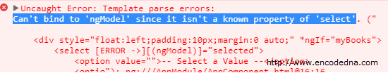 Angular 4 Error: Can't Bind to ngModel since it isn't a known property of 'select'