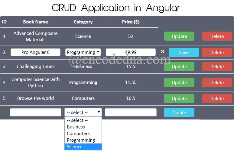 CRUD Application in Angular 6 using Web API in Asp Net MVC 4