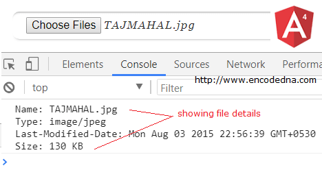Get File Size, Name and Type in Angular 4