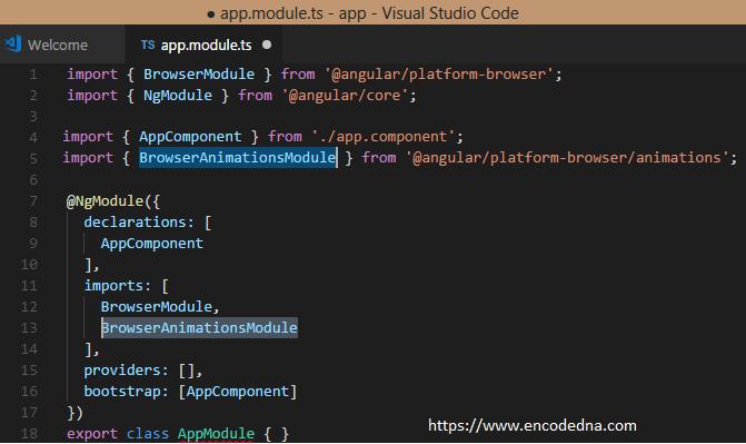Import BrowserAnimationsModule in Angular 4
