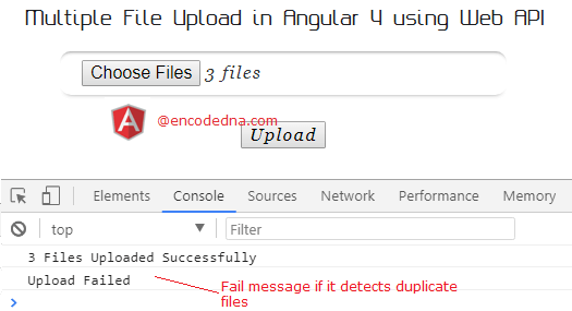 Using Post method in Angular 4 to Upload Multiple Files with
