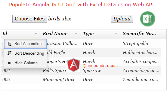 Populete AngularJS UI-Grid with Excel Data using Asp.Net Web API in MVC 4