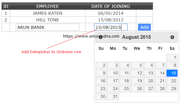 Add jquery datepicker control to a gridview row and save for Add th table jquery