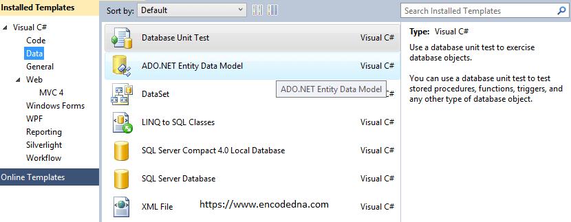 Create or Add Entity Framework in MVC