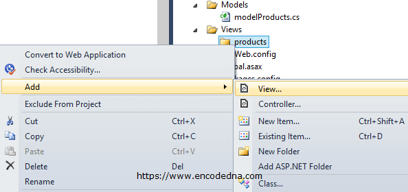 Create a View in Asp.Net MVC 4