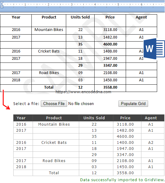 Import Ms-Word tables to a GridView control in Asp.Net