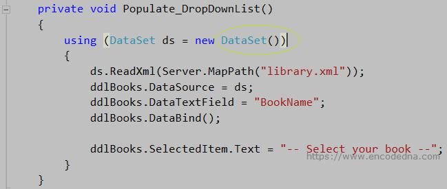 Populate DropDownList with XML data using DataSet in C#