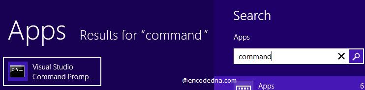 Search Visual Studio Command Prompt in Windows 8
