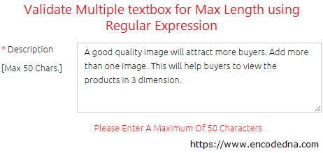 Validate multiline textbox for Max length using Regular Expression