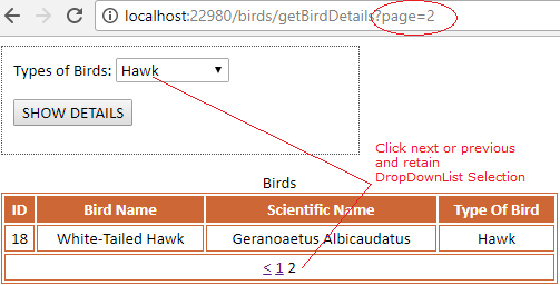 WebGrid with Paging using Form Method POST