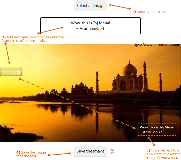 Add to text to Image and Save the image using CSS and Canvas
