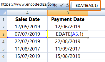 Add One Month from Previous Date in Excel