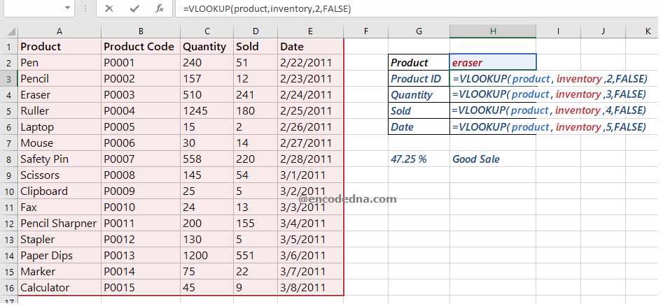Add VLOOKUP function in Excel