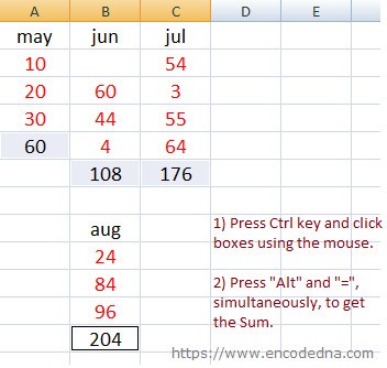 AutoSum Multiple Ranges in Excel