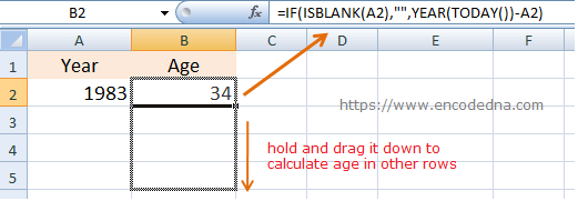 Calculate Age of a Person in Excel using just Year