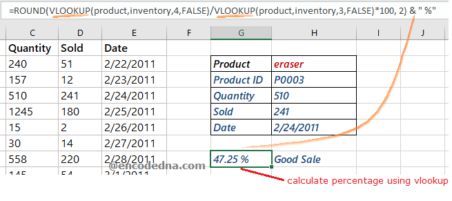 Calculate Percentage using VLOOKUP in Excel