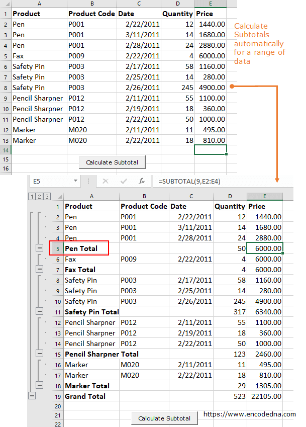Calculate subtotals for a range of data in Excel using VBA