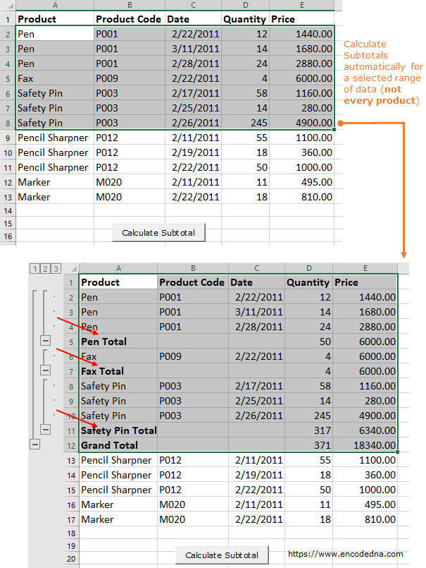 Calculate subtotals for selected range in Excel using VBA