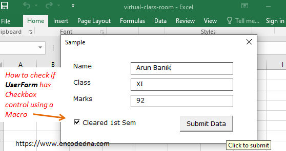 Check if the control is a Checkbox using VBA