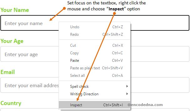 Chrome browser Inspect option