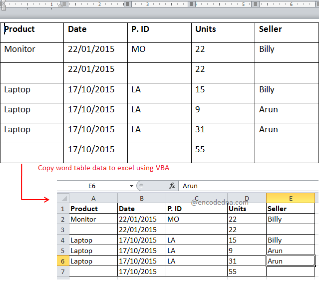 Copy data from Single or Multiple Tables from Word to Excel