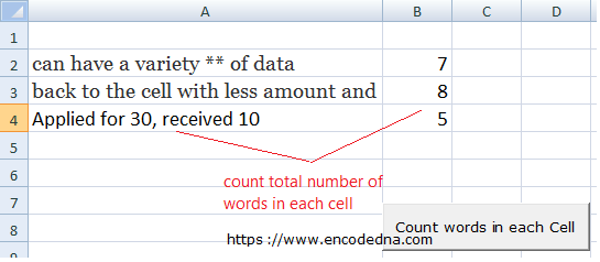 Count Total Number of Words in a Cell or Range in Excel