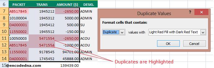 Duplicates Highlighted in Excel Sheet