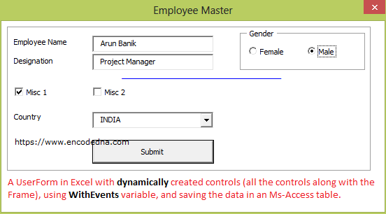 Dynamically create controls in Excel UserForms and Save data in a DataBase
