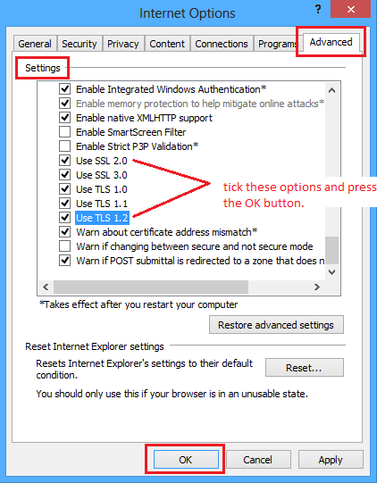 Enable TLS and SSL Protocols in IE