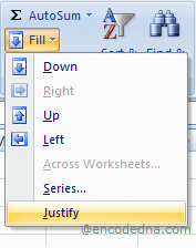 Excel's Justify Option to Merge Cells
