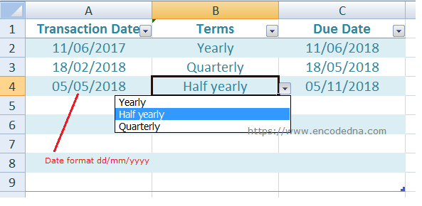 Excel formula to get Half-yearly, quarterly and yearly date from a given date