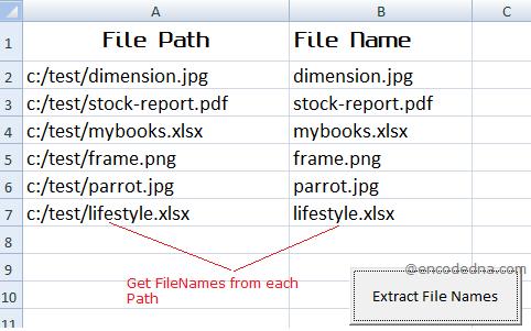 Extract FileName from FilePath using VBA