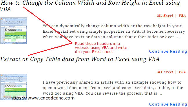 Extract or Get data from HTML Element in Excel using VBA