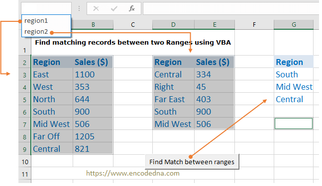 Find matching records between ranges using VBA in Excel