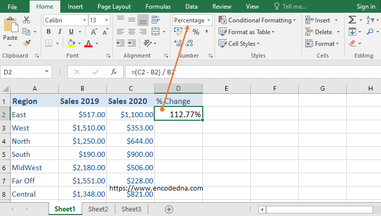 Format cell to percentage in Excel