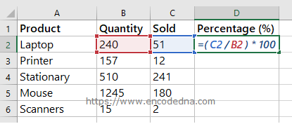 Formula to calculate Sales Percentage in Excel