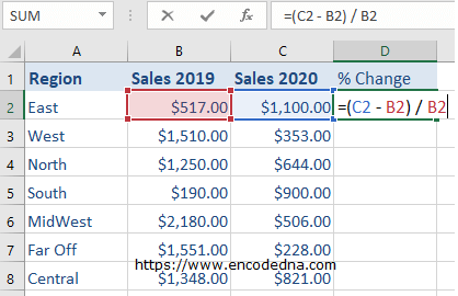 Formula to calculate Percent Change in Excel