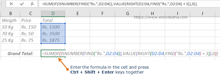Formula to Sum cells with Text and Numbers in Excel