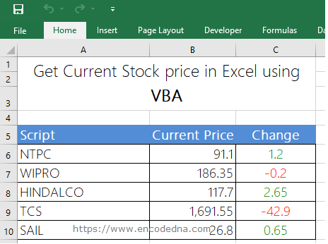 How to Get Stock Quotes in Excel using VBA or Fetch Data