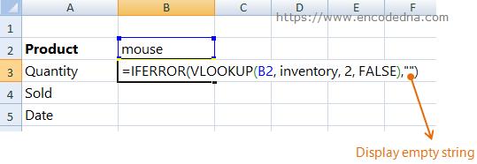 Iferror Vlookup formula Show Empty Text