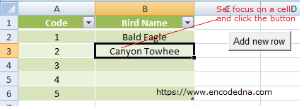 Add or Insert a new row in Excel on button click using VBA